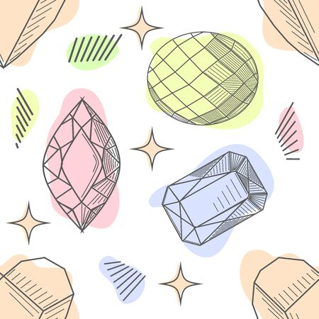 Seamless pastel diamonds pattern. Background with colorful gemstones.  イラスト・ベクター素材