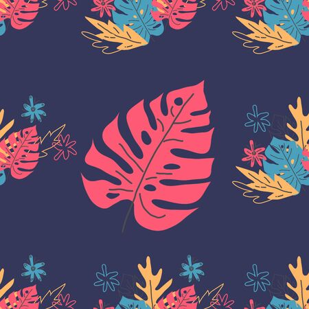 Scandinavian style Exotic leaves hand drawn seamless pattern. Tropical plant drawing. palm, monstera leaves.