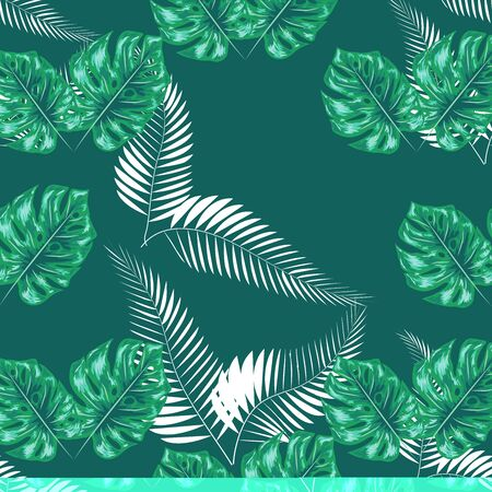 Green pattern with monstera palm leaves. Seamless summer tropical fabric design.  イラスト・ベクター素材