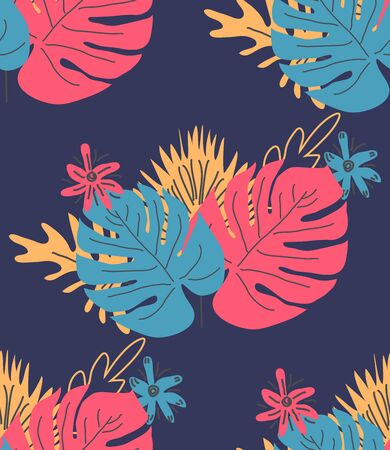 Exotic leaves hand drawn seamless pattern. Tropical plant drawing. Scandinavian style backdrop. banana, palm, monstera leaves. Botanical wrapping paper, textile, background flat design Illusztráció