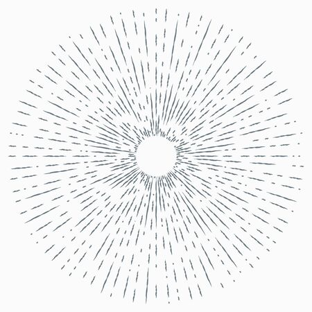 Sun burst, star burst sunshine. Radiating from the center of thin beams, lines. Design element for logo, signs Dynamic style Abstract explosion, speed motion lines from the middle Иллюстрация