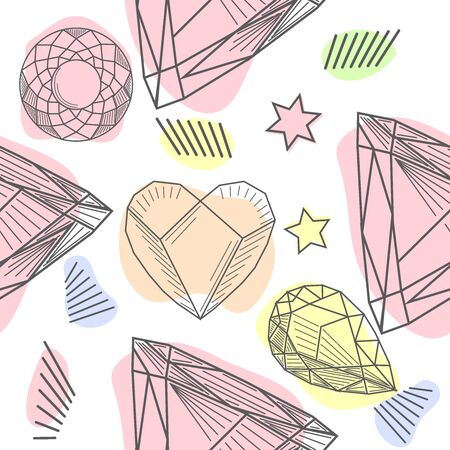 pattern with elements of crowns and diamonds. Background fabric. Hipsters background Фото со стока - 129917874