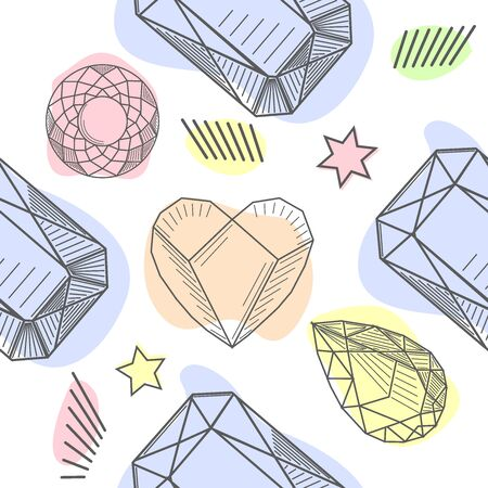 Seamless pattern of hand drawn semiprecious stones. Trendy hipster retro background, Pattern of cut shapes. Illustration