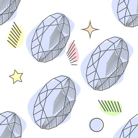 Seamless colorful diamond gemstones background on white. Jewels pattern. Assorted diamonds rubies emeralds illustration, poster luxury design.