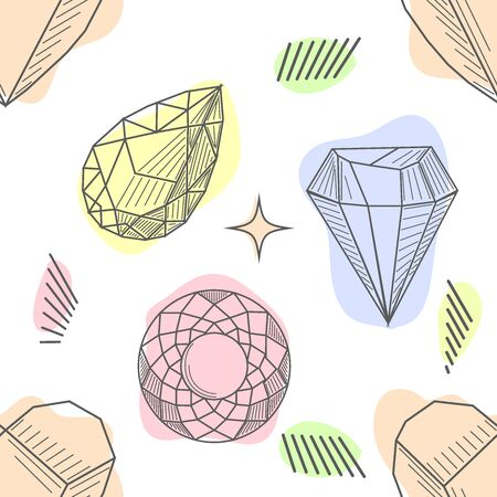 pattern with elements of crowns and diamonds. Background fabric. Hipsters background Çizim