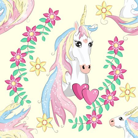 Seamless pattern with unicorns, stars, clouds and abstraction, paint splashes. Endless cute colorful background. Hand drawn cartoon doodle sketches.