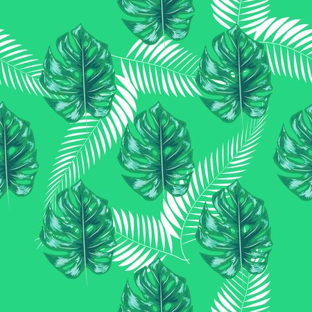 Tropical palm leaves, monstera, jungle leaf seamless floral summer pattern background 写真素材 - 129979732