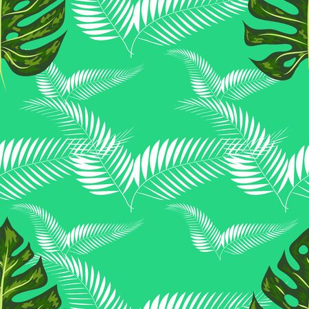 seamless pattern with tropical leaves: palms, monstera, passion fruit. Beautiful allover print with hand drawn exotic plants. Swimwear botanical design 写真素材 - 129979738