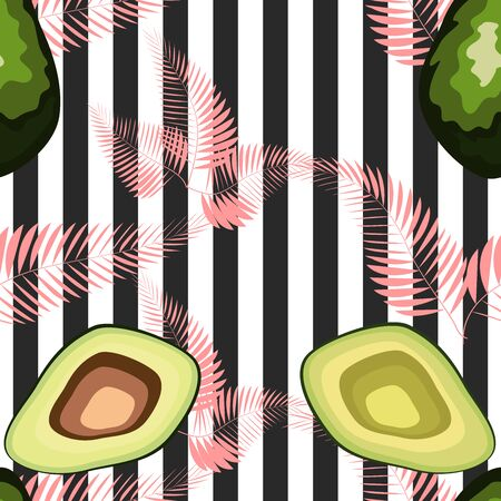 Avocado pattern with palm leaves. Tropical summer fruit engraved style background. Stripe 일러스트