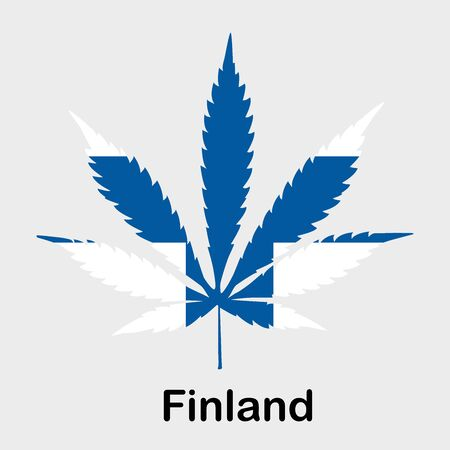 Flag in the form of a cannabis leaf. The concept of legalization of marijuana, cannabis in Finland