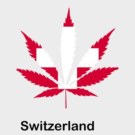 Flag in the form of a cannabis leaf. The concept of legalization of marijuana, cannabis in Switzerland