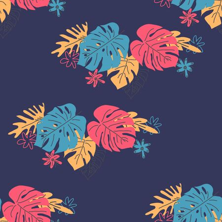 Exotic leaves hand drawn seamless pattern. Tropical plant drawing. Scandinavian style backdrop. banana, palm, monstera leaves. Botanical wrapping paper, textile, background flat design  イラスト・ベクター素材