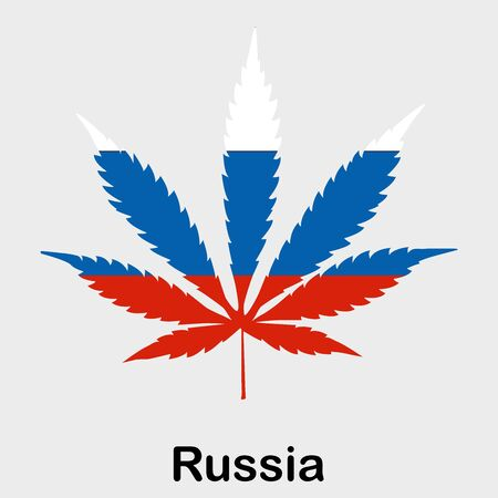 Flag in the form of a cannabis leaf. The concept of legalization of marijuana, cannabis in Russia