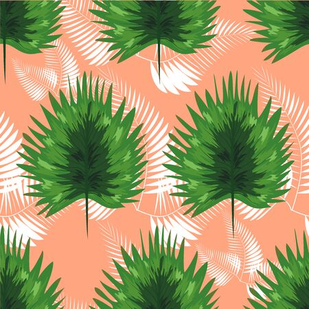 turquoise and green tropical leaves. Seamless graphic design with amazing palms. Fashion, interior, wrapping, packaging suitable. Ilustracja