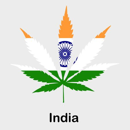 Flag in the form of a cannabis leaf. The concept of legalization of marijuana, cannabis in India Ilustrace