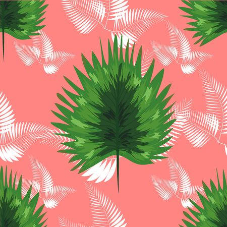 Tropical Pattern. Seamless Texture with Bright Hand Drawn Leaves of Monstera. Seamless Background with Tropic Plants.  イラスト・ベクター素材