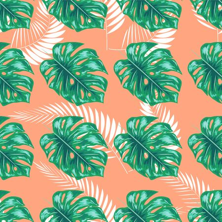 Nature seamless pattern. Hand drawn abstract tropical summer background: palm, monstera leaves in silhouette, line art, grunge, scribble textures.  イラスト・ベクター素材