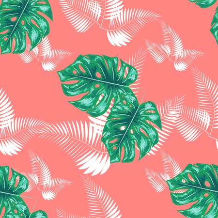 Green pattern with monstera palm leaves on dark background. Seamless summer tropical fabric design.