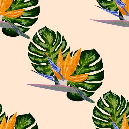 Royal Strelitzia. Tropical flowers, bird of paradise flower. Beautiful seamless floral jungle pattern background, exotic print