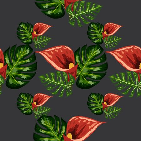 Seamless pattern with tropical leaves and callas lilies flowers. Jungle foliage. Stock Illustratie