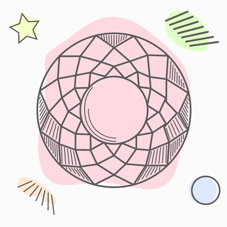 hand drawn line art crystals, isolated objects. Crystal stone crystalline gem and precious gemstone for jewellery illustration
