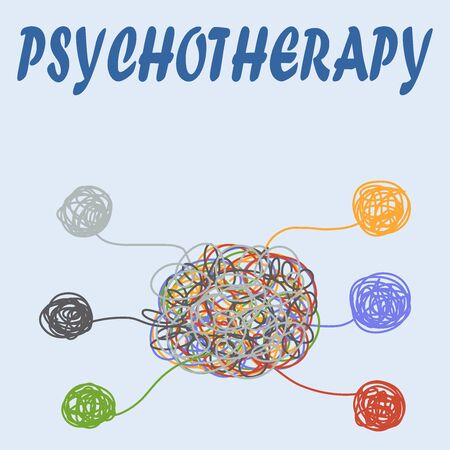 Psychotherapy illustration with hands and tangled thread, illustration Çizim