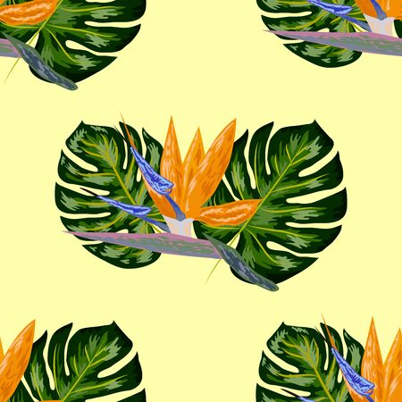 Strelitzia pattern. Tropical flower, blossom cluster seamless pattern . Beautiful background with tropical flowers and palm leaves, plant and leaf. Stock Illustratie