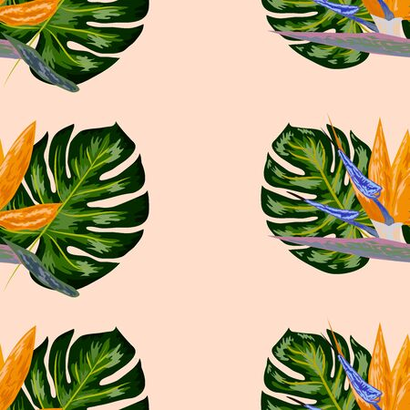 Strelitzia pattern. Tropical flower, blossom cluster seamless pattern . Beautiful background with tropical flowers and palm leaves, plant and leaf. Ilustracja