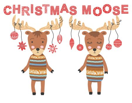 Christmas moose. Scandinavian moose, childrens print, poster, design, hand drawing, quote