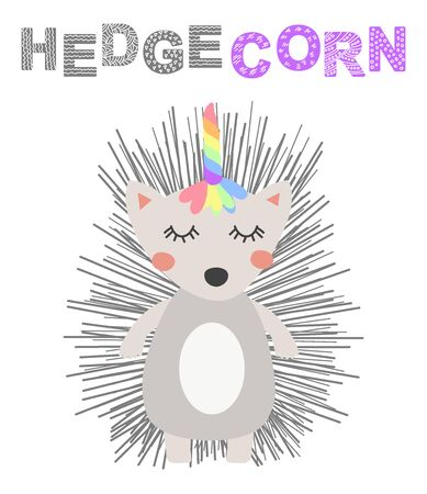 Hand drawn a cute funny hedgehog with a unicorn horn, Scandinavian style flat design. Concept for children print.