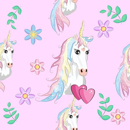 Seamless pattern with cute unicorns, clouds,rainbow and stars. Magic background with little unicorns.