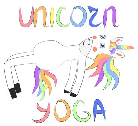 Unicorn yoga. Enlightenment, exercise, design, healthy lifestyle, Scandinavian style, children's print