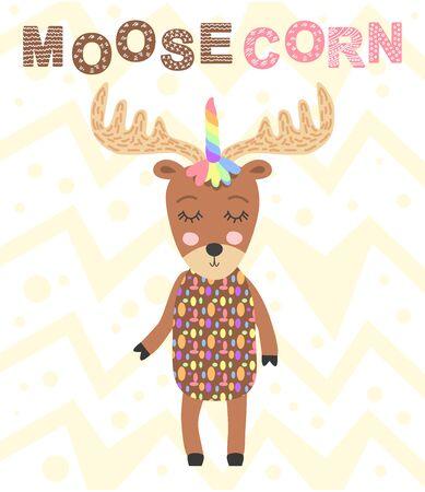 moosecorn. Scandinavian-style moose head with unicorn horn, kids print, poster, design Ilustração
