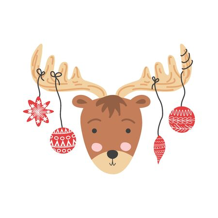 Funny moose with Christmas balls, hand drawn illustration.