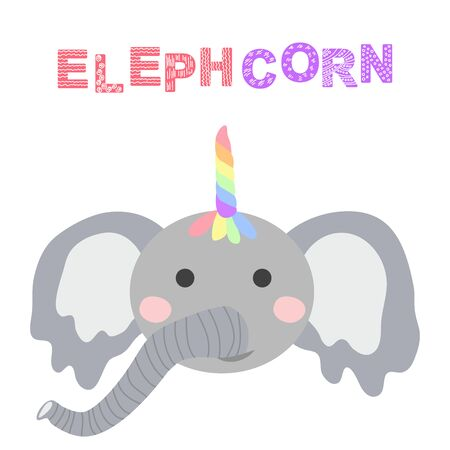cute funny elephant with a unicorn horn. Scandinavian style flat design. Concept for children print. Фото со стока - 130909237