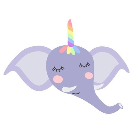 cute funny elephant with a unicorn horn. Scandinavian style flat design. Concept for children print.