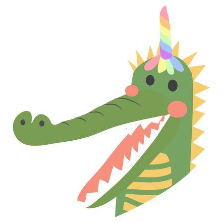 cute funny crocodile with a unicorn horn, Scandinavian style flat design. Concept for children print. Фото со стока - 130909426