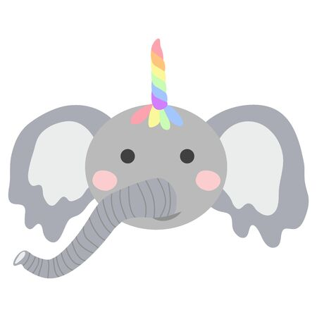 cute funny elephant with a unicorn horn. Scandinavian style flat design. Concept for children print. Фото со стока - 130909428