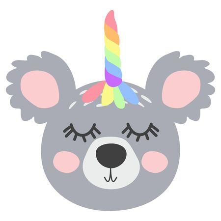 KoalCorn. Magic Cute Unicorn Koala Bear with Rainbow Horn. Kawaii Animal t-shirt Print, Baby Shower Card, Nursery Poster Archivio Fotografico - 130909427