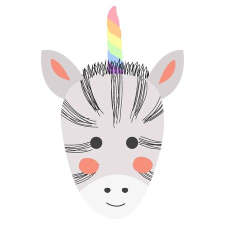 Zebcorn. Hand drawn illustration of a cute funny zebra with a unicorn horn, Scandinavian style flat design. Concept for children print. Illustration