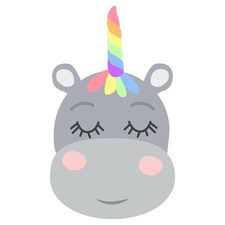 Cute sweet little hippo with a unicorn horn. Scandinavian style flat design. Concept for children print. Ilustração