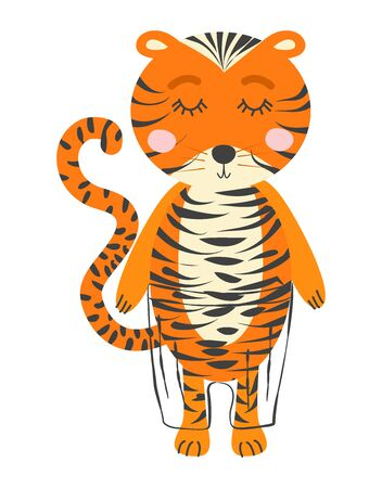 Hand drawn illustration of a cute funny tiger. Scandinavian style flat design. Concept for children print.
