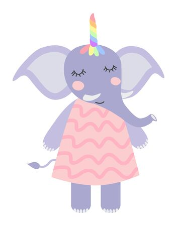 Hand draw illustration of a cute funny elephant with a unicorn horn. Scandinavian style flat design. Concept for children print. Фото со стока - 130909663