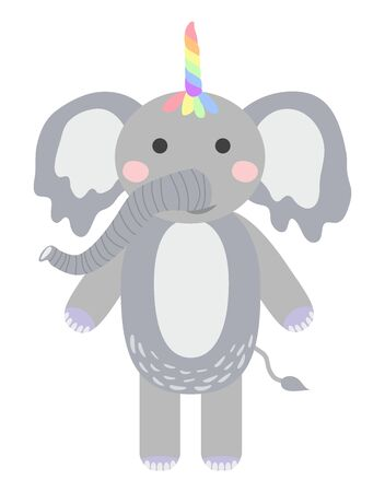 Hand draw illustration of a cute funny elephant with a unicorn horn. Scandinavian style flat design. Concept for children print. Фото со стока - 130909666