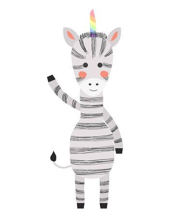 Hand drawn illustration of a cute funny zebra with a unicorn horn, Scandinavian style flat design. Concept for children print. Illustration