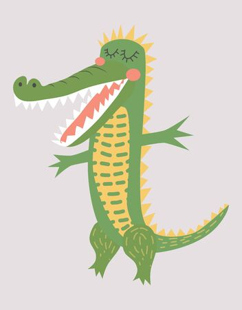 Cute alligator. Cartoon creative crocodile illustration in scandinavian style. print for t-shirts, home decor, posters, cards.