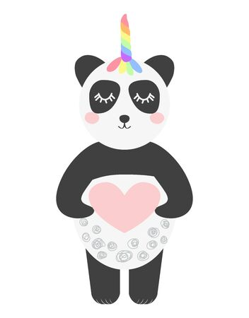 Cute panda with a unicorn horn in the color of the rainbow. Pandacorn. illustration in the Scandinavian style. Иллюстрация