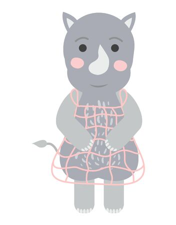 Cute Rhino in Scandinavian style. Hand-drawn. For printing on childrens textiles, postcards, wall art.