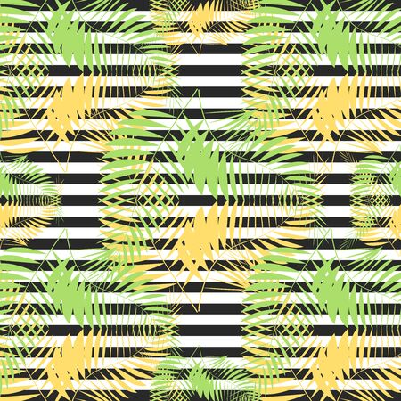 seamless tropical vintage palm pattern on zebra background Stockfoto - 130909846