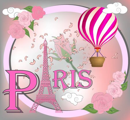Romantic background with Eiffel Tower and pink roses